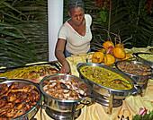 Buffet of local food specialities, La Digue, Seychelles, Indian Ocean