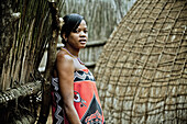 Young woman of the Swazi tribe in a traditional Swazi village, Swaziland, Africa