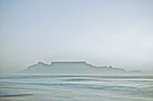 View from Blouwberg Beach to Table Mountain, Cape Town, South Africa, Africa
