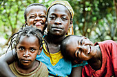 Three children and a young woman from the Ari tribe, Jinka, South Ethiopia, Africa