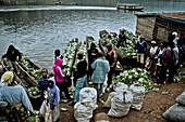 Market day at lake Bunyonyi, Uganda, Africa