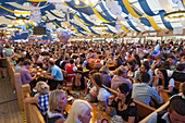 Beer tent at the Gaeubodenvolksfest, Straubing, Danube, Bavarian Forest, Bavaria, Germany