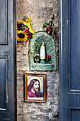 Picture of a saint on the wall of a house, Old town, Naples, Bay of Naples, Campania, Italy