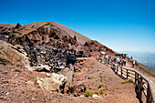 View in the crater of Vesuvius, Naples, Bay of Naples, Campania, Italy