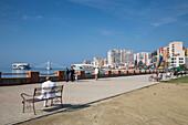 Durres seafront promenade with amusement rides, Durres, Albania
