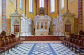 Chancel and stalls, Former monastery L'Abbaye Saint-Pierre, Moissac, Dept. Tarn-et-Garonne, Region Aquitaine, France, Europe