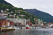 Harbour and Bryggen, Mountain Floyen, Bergen, Province of Hordaland, Vestlandet, Norway, Europe