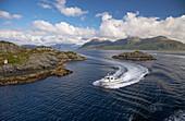 Ferry from Kjelkenes to Smorhamn on Bremanger Landet, Province of Sogn og Fjordane, Vestlandet, Norway, Europe