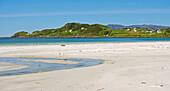 Sandy beach near the village of Refvik, Vagsoy Island, Province of Sogn og Fjordane, Vestlandet, Norway, Europe