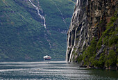 MS Polarlys, from Hurtigruten and waterfall, Seven Sisters in Geirangerfjord, Province of More og Romsdal, Vestlandet, Norway, Europe