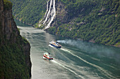 MS, Polarlys, from Hurtigruten and river cruiser in Geirangerfjord, Waterfall, Seven Sisters, Province of Möre og Romsdal, Vestlandet, Norway, Europe