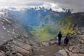 View from Dalsnibba to the surrounding mountains and Geirangerfjord, Province of More og Romsdal, Vestlandet, Norway, Europe