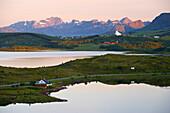 Midnight sun at Borgpollan, Isle of Vestvagoy, Lofoten, Province of Nordland, Nordland, Norway, Europe
