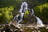 Brattland waterfall in, Brattlandsdalen, RV 13, Province of Rogaland, Vestlandet, Norway, Europe