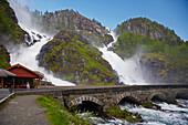 Latefossen waterfall near Odda, RV 13, Province of Hordaland, Vestlandet, Norway, Europe