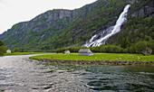 Vidfossen waterfall near Odda, RV 13, Province of Hordaland, Vestlandet, Norway, Europe