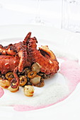 Variation of a classic octopus dish, Restaurant Mylopetra, Gialos, Symi Town, Symi, Dodecanese, South Aegean, Greece