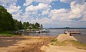 Taking a swim in lake Mjoern, Vaestra Bodarne, Province of Bohuslaen, West coast, Sweden, Europe