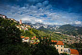 Fontia with marble quarries in the background, Carrara, province of Massa and Carrara, Tuscany, Italy