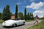 Porsche, 356 Speedster, Mille Miglia, 1000 Miglia, near San Quirico d'Orcia, Toskana, Italy, Europe