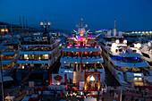 Port Hercule at night, Monaco, Monte Carlo, Cote d´Azur, France, Europe
