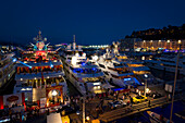 Port Hercule at night, Monaco, Monte Carlo, Cote d´Azur, France, Europe