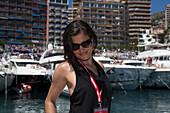 Woman in the harbour, Port Hercule, Monaco, Monte Carlo, Cote d´Azur, France, Europe