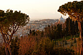 View towards Rome from Hotel Cavallieri Rome, Monte Mari, Rome, Lazio, Italy