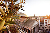 View from the roof terrace of Hotel Albergo del Senato to the Pantheon and over the roofs of Rome, Rome, Lazio, Italy