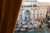 View from the window of Hotel Fontana towards the Trevi fountain, Rome, Lazio, Italy