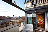 View from the roof terrace of Hotel Romanico Palace, Rome, Latio, Italy