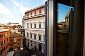 View from a window of Hotel Romanico Palace over the alleys of Rome, Rome, Latio, Italy