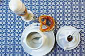 Traditional Bavarian sausage breakfast, Weisswurst with pretzel and weissbier, Hofbraeuhaus Muenchen, Munich, bavaria, Germany