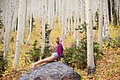 A young woman performs a yoga pose on a rock in Big Cottonwood Canyon, near Salt Lake City, UT Salt Lake City, Utah, USA