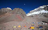Plaza Argentina, Base Camp for the Polish Glacier Traverse Route on Aconcagua, Argentina, Mendoza, Andes Mountains, Argentina