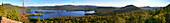 Blue Mountain Lake panorama with sightseeing floatplane above, Adirondack Park, NY, USA, Blue Mountain Lake, NY, USA