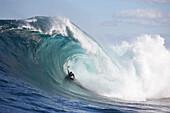 A surfer bodyboarding a dangerous wave at Shipstern bluff, in Tasmania Tasman Peninsular, Tasmania, Australia