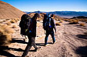 A pair of young male hikers backpack through Death Valley's Confidence Hills, California Death Valley, California, United States of America