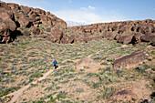 Man in red shirt trail running Bishop, California, United States