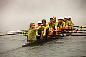 The Lake Casitas Rowing Team works some on drills at Lake Casitas in Ojai, California., Ojai, California, United States of America