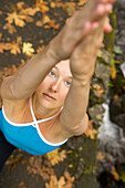 A woman doing yoga outside Columbia River Gorge, Oregon, United States