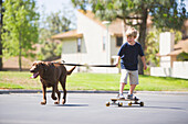 A smiling young boy gets pulled by a dog while riding his skateboard, Huntington Beach, California Huntington Beach, California, United States