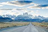 Looking down the road that leads to Chalten and Los Glaciares National Park, Argentina Chalten, Patagonia, Chile
