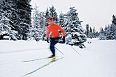 A young woman cross-country skiing. (blurred motion), Homer, Alaska, USA