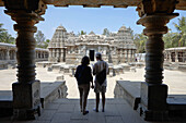 Couple visiting Chennakesava Temple, Somanathapura, Karnataka, India