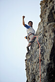 Argentinean man rock climbing, Bariloche, Argentina