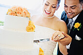 Multi-ethnic bride and groom cutting cake, Seattle, WA