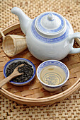 Chinese gunpowder tea service on tray, Santa Fe, New Mexico, United States