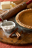 Baking ingredients and homemade pumpkin pie, Los Angeles, California, United States