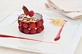Elegant raspberry dessert, Alba, Cuneo, Italy